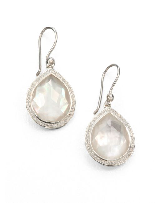 Ippolita | Metallic Mother-of-pearl Doublet, Diamond & Sterling Silver Drop Earrings | Lyst