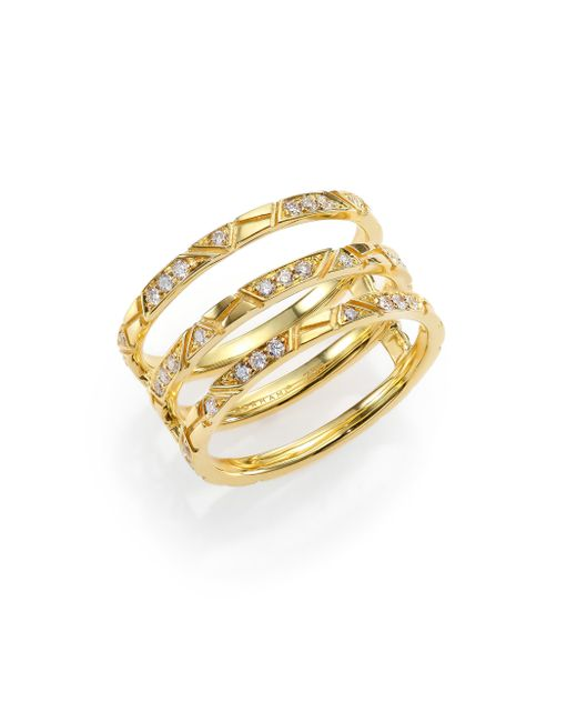 Ron Hami | Metallic Bar Diamond & 18k Yellow Gold Engraved Lines Three-row Ring | Lyst