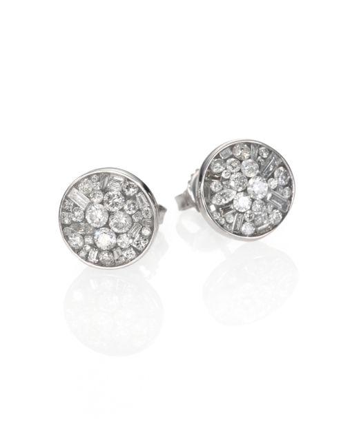 Plevé | Ice Diamond & 18k White Gold Button Earrings | Lyst