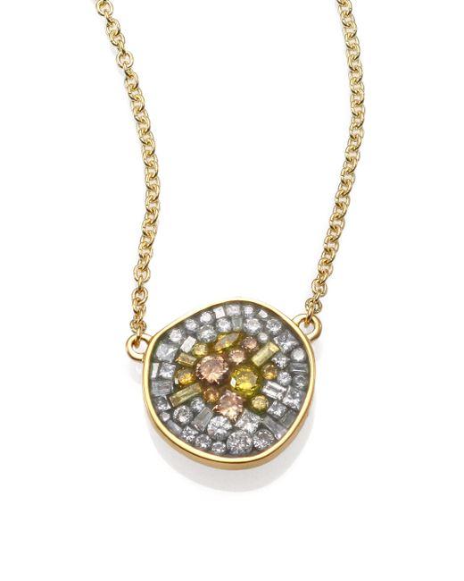 Plevé | Metallic Sunburst Diamond & 18k Yellow Gold Pebble Pendant Necklace | Lyst