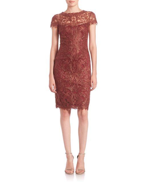 Tadashi Shoji | Brown Soutache-embroidered Sheath Dress | Lyst