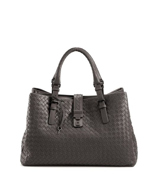 Bottega Veneta | Gray Roma Medium Intrecciato Leather Satchel | Lyst