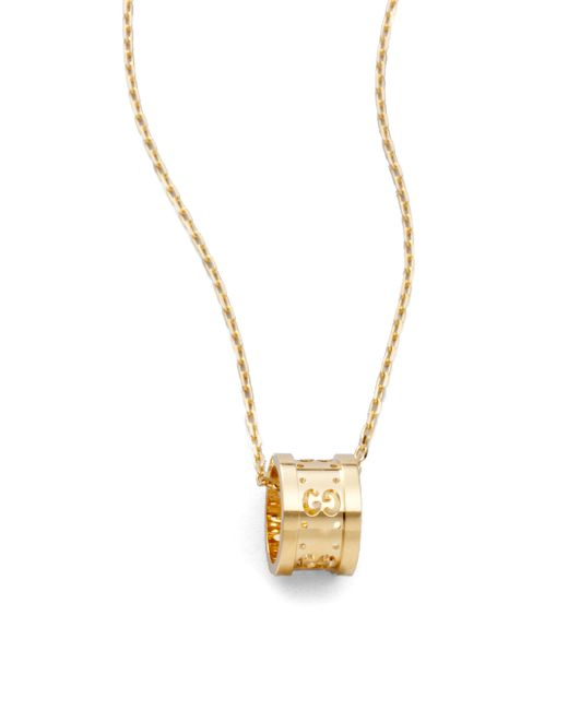 Gucci   Metallic 18k Yellow Gold Small Gg Barrel Necklace   Lyst