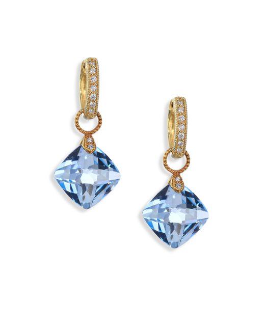 Jude Frances | Metallic Classic Sky Blue Topaz, Diamond & 18k Yellow Gold Cushion Earring Charms | Lyst