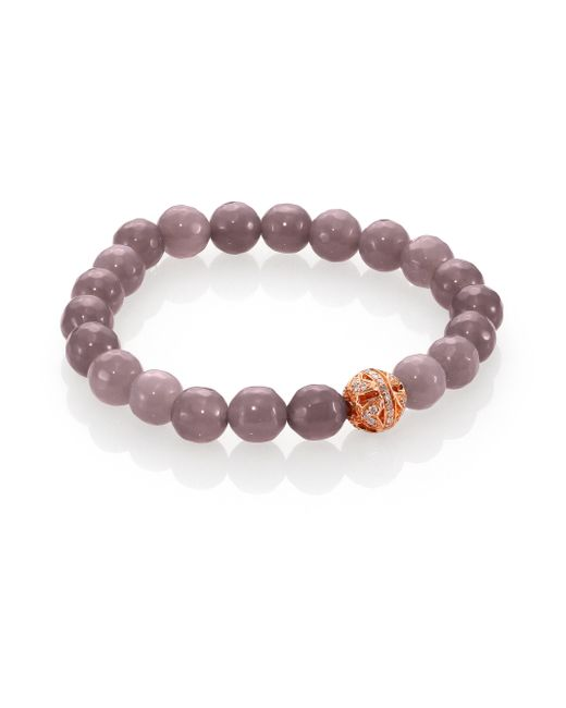 Sydney Evan | Pink Diamond, Grey Agate & 14k Rose Gold Butterfly Ball Beaded Stretch Bracelet | Lyst