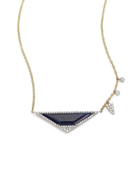 Meira T | Blue Sapphire, Diamond & 14k Yellow Gold Triangle Necklace | Lyst