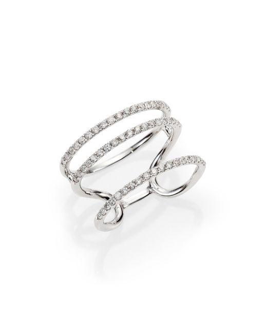 Meira T | Metallic Diamond & 14k White Gold Triple Band Ring | Lyst