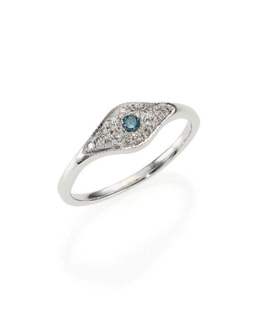 Jacquie Aiche | Blue Diamond & 14k White Gold Eye Ring | Lyst