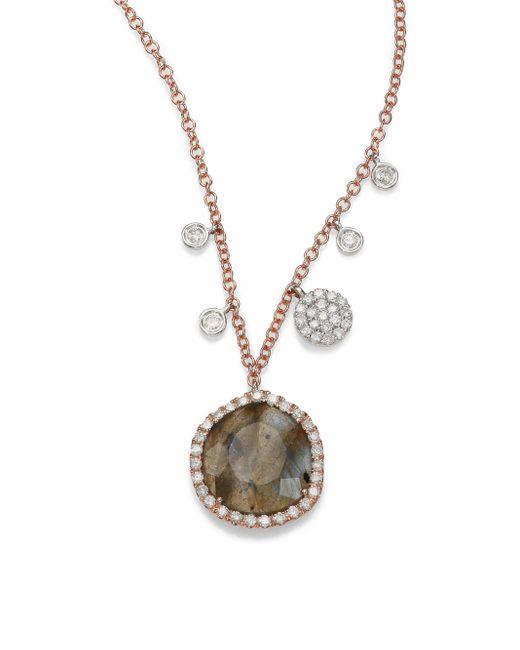 Meira T   Pink Diamond, Labradorite, 14k Yellow Gold & 14k White Gold Charm Necklace   Lyst