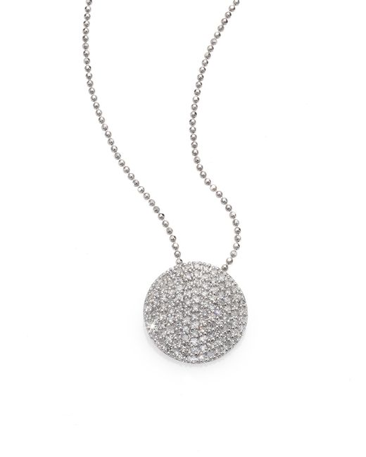 Phillips House | Pave Diamond & 14k White Gold Infinity Disc Pendant Necklace | Lyst