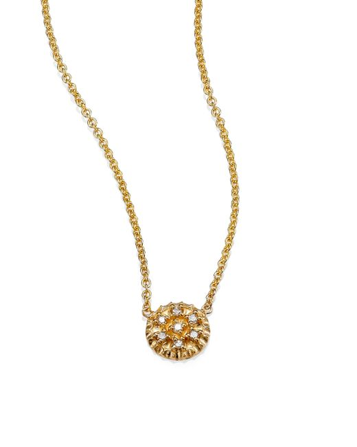 Zoe Chicco | Metallic Pave Diamond & 14k Yellow Gold Tiny Disc Necklace | Lyst