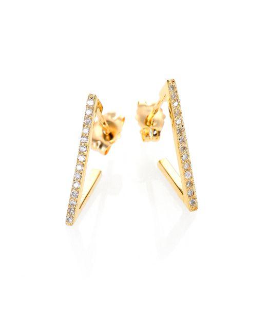 Zoe Chicco | Metallic Diamond & 14k Yellow Gold Triangle Hoop Earrings | Lyst