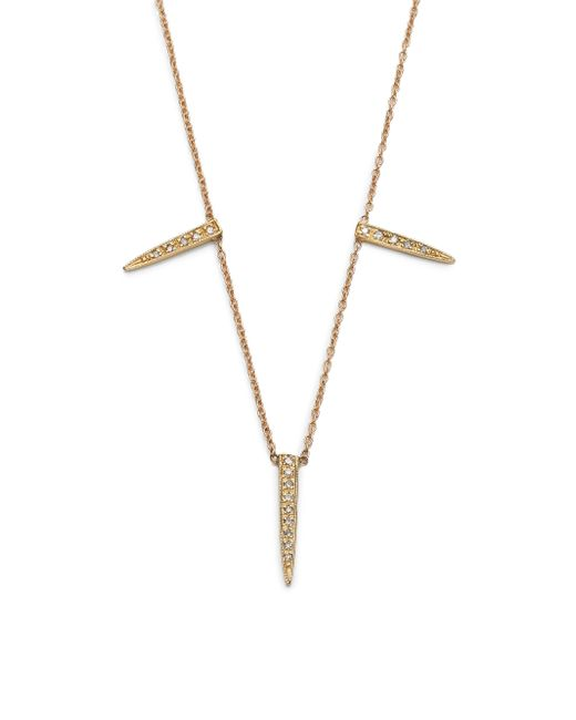 Jacquie Aiche | Metallic Diamond & 14k Yellow Gold Three Ice Pick Necklace | Lyst