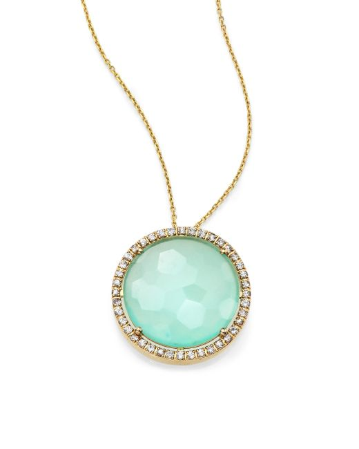KALAN by Suzanne Kalan | Blue Chalcedony, White Sapphire & 14k Yellow Gold Large Round Pendant Necklace | Lyst