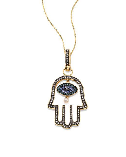 Annoushka | Metallic Hand Of Fatima Diamond, 2mm Freshwater Pearl, Blue Sapphire & 18k Yellow Gold Amulet | Lyst