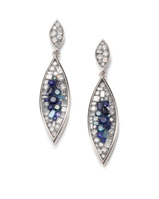 Plevé | Blue Burst Diamond, Sapphire & 18k White Gold Marquis Drop Earrings | Lyst