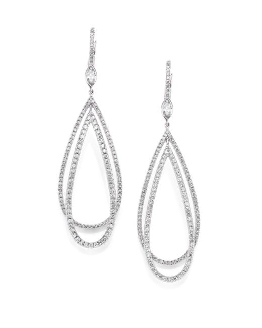Kwiat | Metallic Echo Diamond & 18k White Gold Teardrop Earrings | Lyst