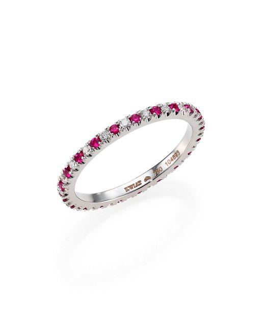 Kwiat | Diamond, Ruby & 18k White Gold Eternity Stacking Ring | Lyst
