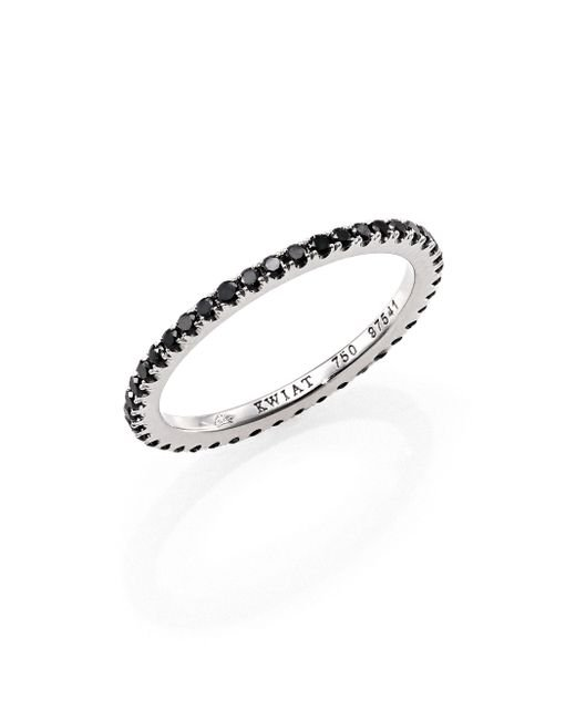 Kwiat | Black Diamond & 18k White Gold Eternity Stacking Ring | Lyst