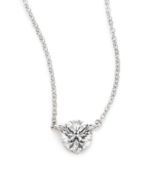 Kwiat | Metallic Diamond & Platinum Large Solitaire Pendant Necklace | Lyst