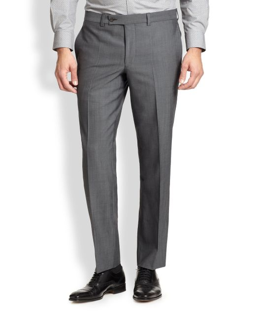 Saks Fifth Avenue | Gray Modern-fit Wool Trousers for Men | Lyst