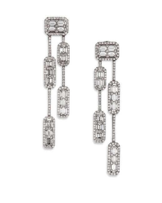 Roberto Coin   Metallic Baguette Deco Diamond & 18k White Gold Double-strand Drop Earrings   Lyst