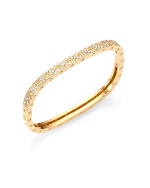 Roberto Coin | Metallic Pois Moi Pave Diamond & 18k Yellow Gold Single-row Bangle Bracelet | Lyst