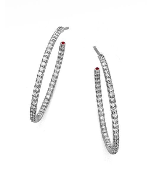 Roberto Coin | Diamond & 18k White Gold Large Hoop Earrings/1 | Lyst