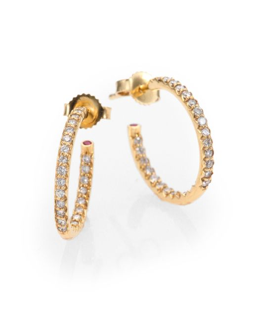 Roberto Coin | Metallic Diamond & 18k Yellow Gold Hoop Earrings/0.7 | Lyst