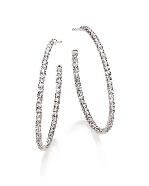 Roberto Coin | Metallic Diamond & 18k White Gold Inside-outside Hoop Earrings/1.4 | Lyst