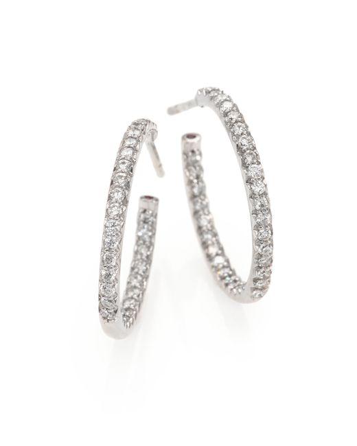 Roberto Coin | Diamond & 18k White Gold Inside-outside Hoop Earrings/0.75 | Lyst