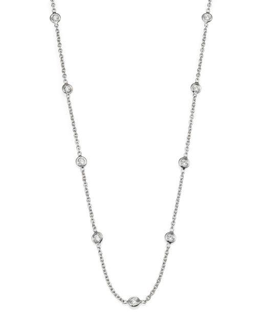 Roberto Coin | Metallic Diamond & 18k White Gold Station Necklace/36 | Lyst