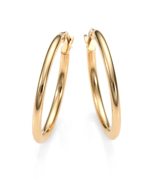 Roberto Coin | Metallic 18k Yellow Gold Oval Hoop Earrings/1 | Lyst