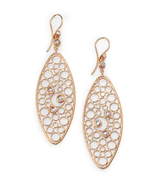 Roberto Coin | Pink Bollicine Diamond & 18k Rose Gold Oval Drop Earrings | Lyst