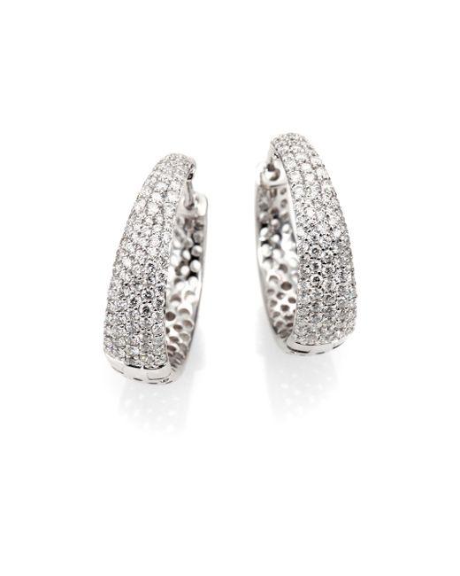 Roberto Coin | Scalare Diamond & 18k White Gold Hoop Earrings/0.75 | Lyst