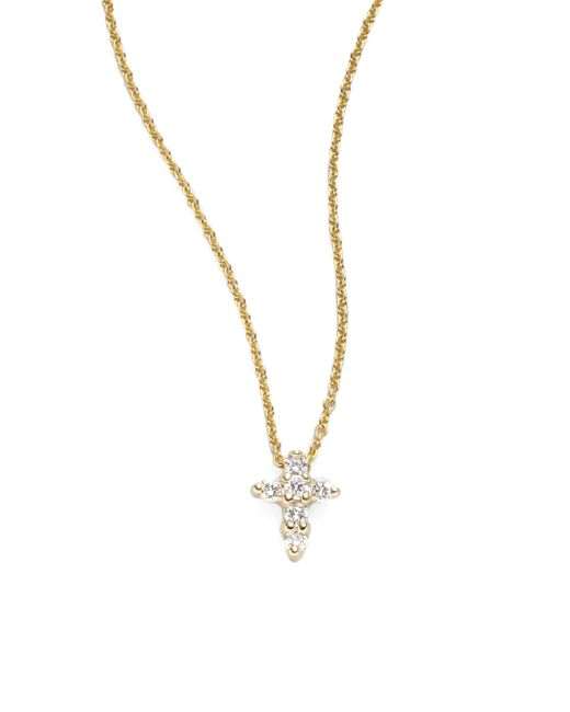 Roberto Coin   Metallic Tiny Treasures Diamond & 18k Yellow Gold Mini Cross Pendant   Lyst