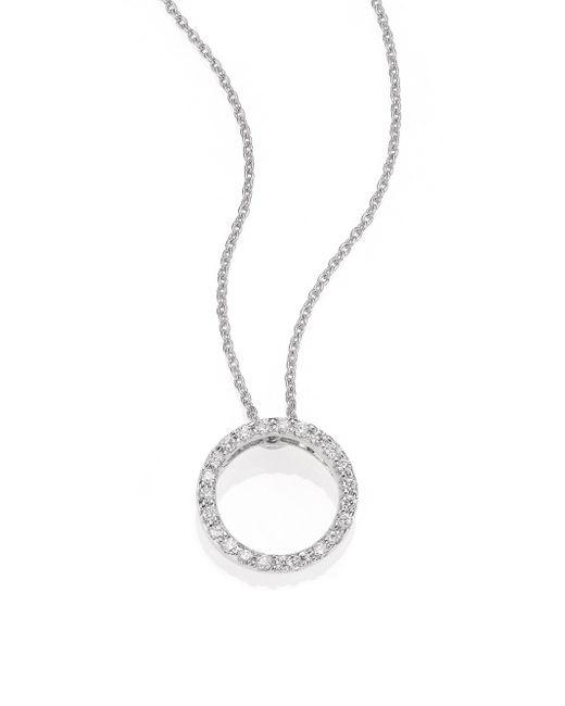 Roberto Coin | Tiny Treasures Diamond & 18k White Gold Petite Circle Pendant Necklace | Lyst