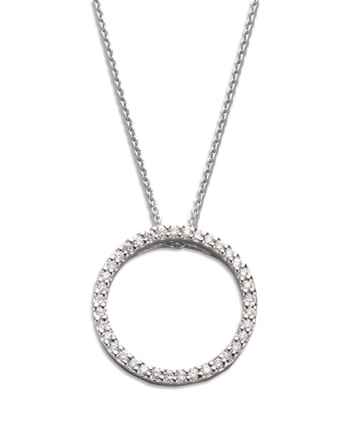 Roberto Coin   Metallic Tiny Treasures Diamond & 18k White Gold Small Circle Pendant Necklace   Lyst
