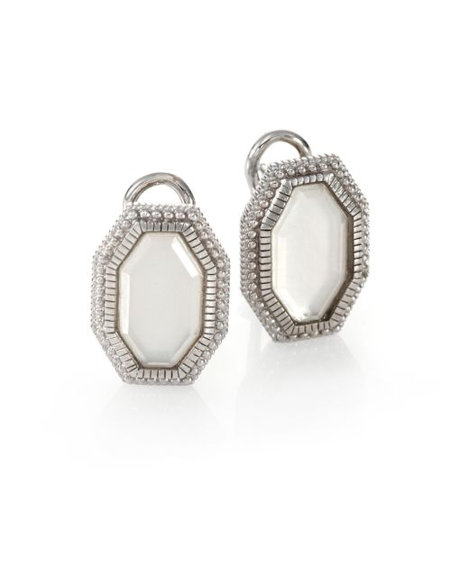 Judith Ripka | White Modern Deco Mother-of-pearl & Sterling Silver Octagon Doublet Earrings | Lyst