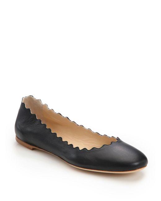Chloé | Black Scalloped Leather Ballet Flats | Lyst