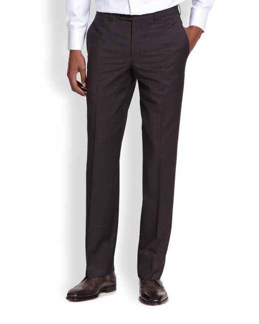 Saks Fifth Avenue | Black Wool Micro Check Trousers for Men | Lyst
