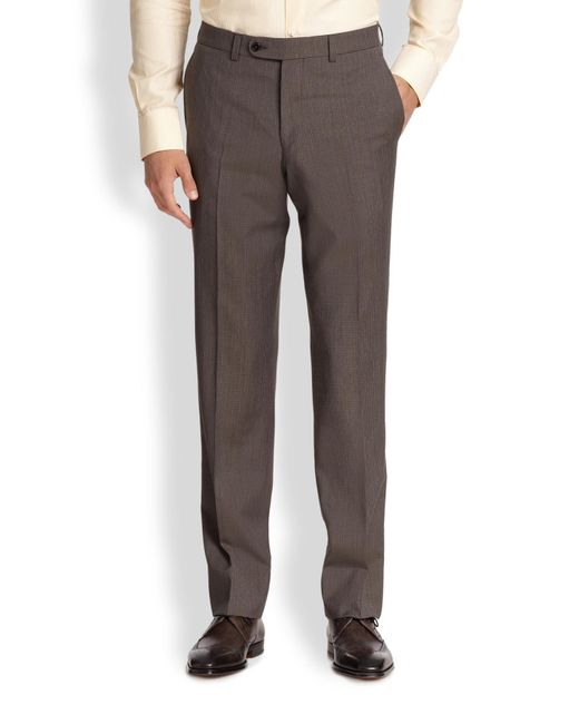 Saks Fifth Avenue | Brown Wool Micro Check Trousers for Men | Lyst