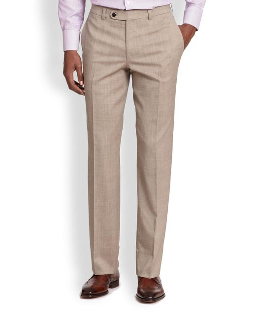 Saks Fifth Avenue | Natural Stretch-wool Trousers for Men | Lyst