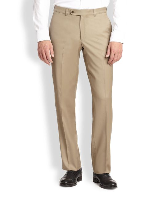 Saks Fifth Avenue | Brown Wool Dress Pants for Men | Lyst
