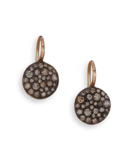 Pomellato | Pink Sabbia Brown Diamond & 18k Rose Gold Drop Earrings | Lyst