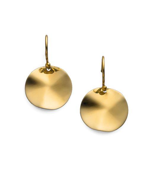Ippolita   Metallic Glamazon Sculptural Metal 18k Yellow Gold Mini Wavy Disc Drop Earrings   Lyst