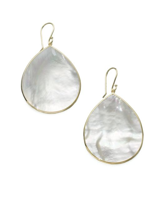 Ippolita | White Polished Rock Candy Mother-of-pearl & 18k Yellow Gold Large Teardrop Earrings | Lyst