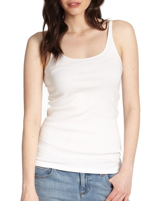 Eileen Fisher | White Organic Cotton Tank Top | Lyst