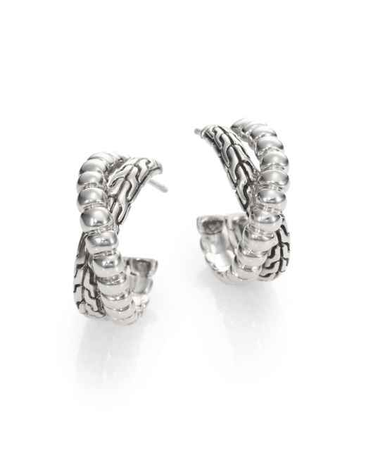 John Hardy | Metallic Bedeg Sterling Silver Small Twist Hoop Earrings/1 | Lyst