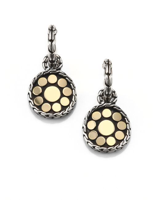John Hardy | Metallic Dot 18k Yellow Gold & Sterling Silver Drop Earrings | Lyst